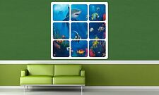 Colour Window View Reef Shark Fish Coral Sticker Wall Poster Vinyl GA20-365