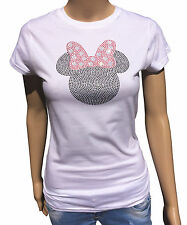 Ladies Mickey mouse with bow t-shirt with black and red crystals. Amazing!