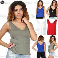 Womens Ladies Muscle Vest V Neck Front V Back Tank T Shirt Top Plus Size UK 8-22