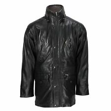 Men's Black Real Soft Leather Safari Parka Vintage Jacket 3/4 Trench Duffle Coat