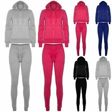 Womens Ladies Plain Fleece Hooded Hoodie Jogsuit Bottom Jogging Pant Tracksuit