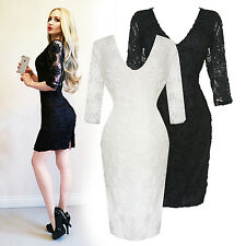 Womens New Sexy Fitted Unique Floral Lace Clubbing Formal Bodycon Mini Dress UK