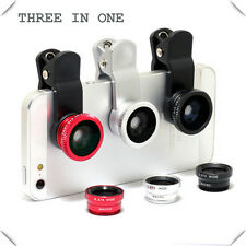3in1 Fisheye Wide Angle + Macro Camera Clip on Lens For iPhone 6S Smart Phone