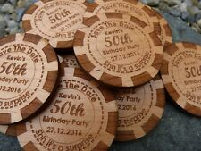 Poker Chip Save The Date wooden magnet: Wedding, Party Invitation fridge magnets