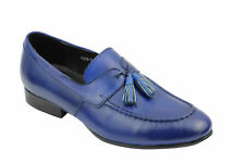 New Mens Blue Real Leather Tassel Loafers Slip on Smart Casual Vintage MOD Shoes