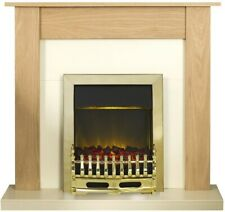 Adam Fireplace Suite in Oak with Blenheim Electric Fire in Brass, 43 Inch
