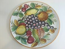 "Italy Porcelain Hand Painted Fruits Serving Platter Tray, 13 1/4"" Diameter"
