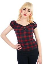 COLLECTIF VINTAGE TAI TARTAN DOLORES TOP SZ 8 - 22 1950S NAVY BURGUNDY CHECK