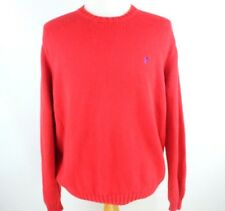 MENS SIZE L LARGE POLO RALPH LAUREN 100% COTTON CREW NECK SWEATER NAVY PONY