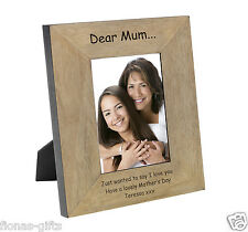 Personalised Dear Mum Wood Photo Frame 6x4 7x5 Message Engraved