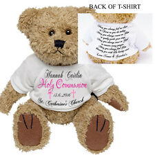 Personalised Teddy Bear First Holy Communion Confirmation Godchild Gift Present