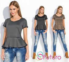 Womens Elegant Peplum Top Short Sleeve Scoop Neck Fitted Blouse Sizes 8-12 FA501