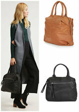 Ex Topshop Black Or Tan REAL Leather Soft Holdall Shoulder Tote Bag Handbag