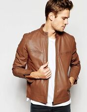 Gordania Stylish Slim Fit Formal Faux Leather Jacket For Men GD285TAN