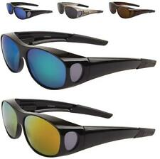 NEW BLACK SUNGLASSES POLARIZED MENS LADIES FIT OVER LARGE GLASSES WRAP DRIVING