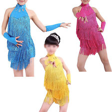Latin Latin Fringe Dress Girls Ballroom Dance Costume Dancing Clothing FK