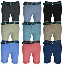 Mens Chino Shorts Cotton Belted Half Pant Cargo Combat Jeans Pant With Free Belt