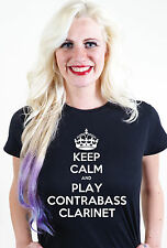 KEEP CALM AND PLAY CONTRABAJO CLARINETE UNISEX HOMBRE MUJER CAMISETA