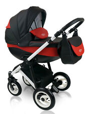 Baby Pram PRESTIGE LEATHERETTE Pushchair Buggy Stroller + Car Seat,Travel System