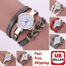 Fashion Women Faux Leather Crystal Bracelet Ladies Quartz Analog Wrist Watch HOT