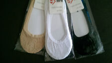 FULL LACE BALLERINA Ladies Footsie Liner Ankle Invisible Shoes Socks Ballerin !