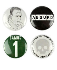 Albert Camus Badges, buttons, absurdism, the rebel, the stranger, fall, plague,