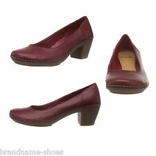 dd0594519863 LADIES WOMENS CLARKS EMERSON JAZZ RED LEATHER COMFORTABLE HIGH HEELS WORK  SHOES