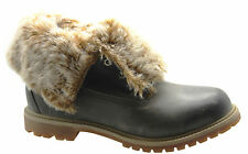 Timberland Earthkeepers Ek Auth Fold Down Leather Fur Womens Boots 8319A D5