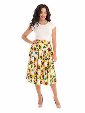 Collectif Aida Zak Sunflower 1950s Swing Skirt Yellow Rockabilly Vintage Pinup