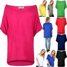 Womens Ladies Plain V Neck Batwing Baggy Oversized Turn Up Sleeve T Shirt Top