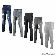 New Mens Skinny Jeans Super Stretch Ripped Cutaway Extreme Open Frayed Rip Denim