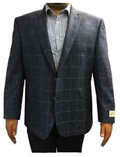 SCOTT Mens Linen Blend Over Check Sports Jacket in Blue in size 50 to 60, S/R/L