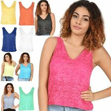 Womens Ladies Burnout Muscle Vest V Neck Front V Back Tank T Shirt Top Plus Size