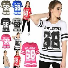 Womens Ladies NEW JERSEY 68 Stripes Short Sleeve Oversized Baggy Tee T Shirt Top
