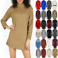 Womens Baggy Cable Knit Dress Ladies Cowl Neck Knitwear Pullover Mini Jumper Top