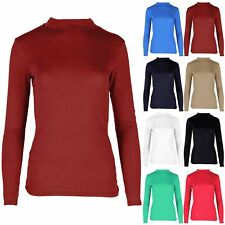 Womens Ladies Plain Turtle Polo Neck Long Sleeves Baggy Jersey Top Tee T Shirt