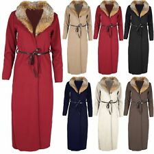 Womens Faux Fur Collared Belted Full Sleeve Open Top Jacket Ladies Long Cardigan