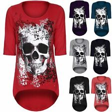 Womens Ladies Skull Butterfly 3/4 Sleeve Dipped Hem High Low Tunic Top Plus Size