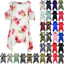 Womens Floral Cap Sleeve Ladies Cold Cut Shoulder Hanky Hem Baggy Oversized Top