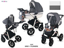 Baby Pram Pushchair Buggy Stroller + Car Seat, Modern Travel System 3 in 1