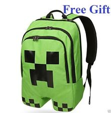 Minecraft Backpack School bag Boys Green Creeper  School Camping FREE Gift