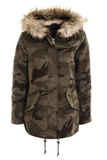 Women's Ladies Camouflage Military Canvas Padded Army Parka Coat  Jacket