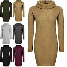 Womens Chunky Knit Mini Dress Ladies Long Sleeve Oversized Cowl Neck Top Jumper