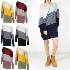 Womens Blocks Jumper Sweater Ladies Oversized Off the Shoulder Chunky Knit Dress