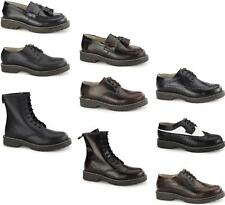 Grinders Unisex Mens Womens Leather Air Cushioned Derby Boots & Brogue Shoes