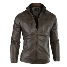 Gordania Stylish Slim Fit Biker Faux Leather Jacket For Men GD263Brown
