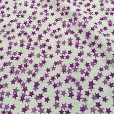 "Printed poly cotton WHITE with PURPLE  STARS DOUBLE 115cm 45"" wide sold by metre"