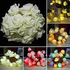 2M / 20LED Rose Flower Battery Operated String Fairy Light Party Xmas Decoration