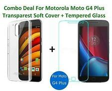 Combo Deal For Moto G4 Plus+ Transparent Back Cover & Tempered Glass & Cases Imp