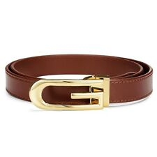 BNWT Brand New Genuine Leather Skinny Ladies Brown Dress Jeans  Belt RRP $80 AUD